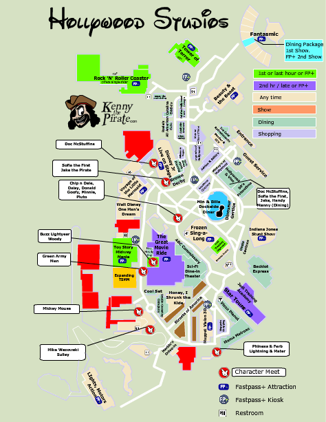 Hollywood Studios Map with character locations | Disney World ...