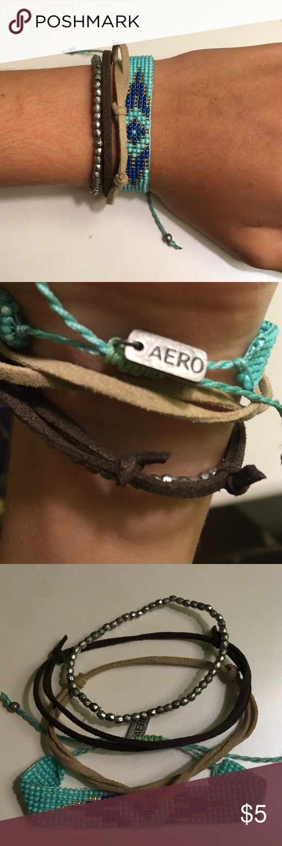 Aero bracelet set There are 4 bracelets that go together and are all adjustable. Hardly worn, perfect condition. Aeropostale Jewelry Bracelets