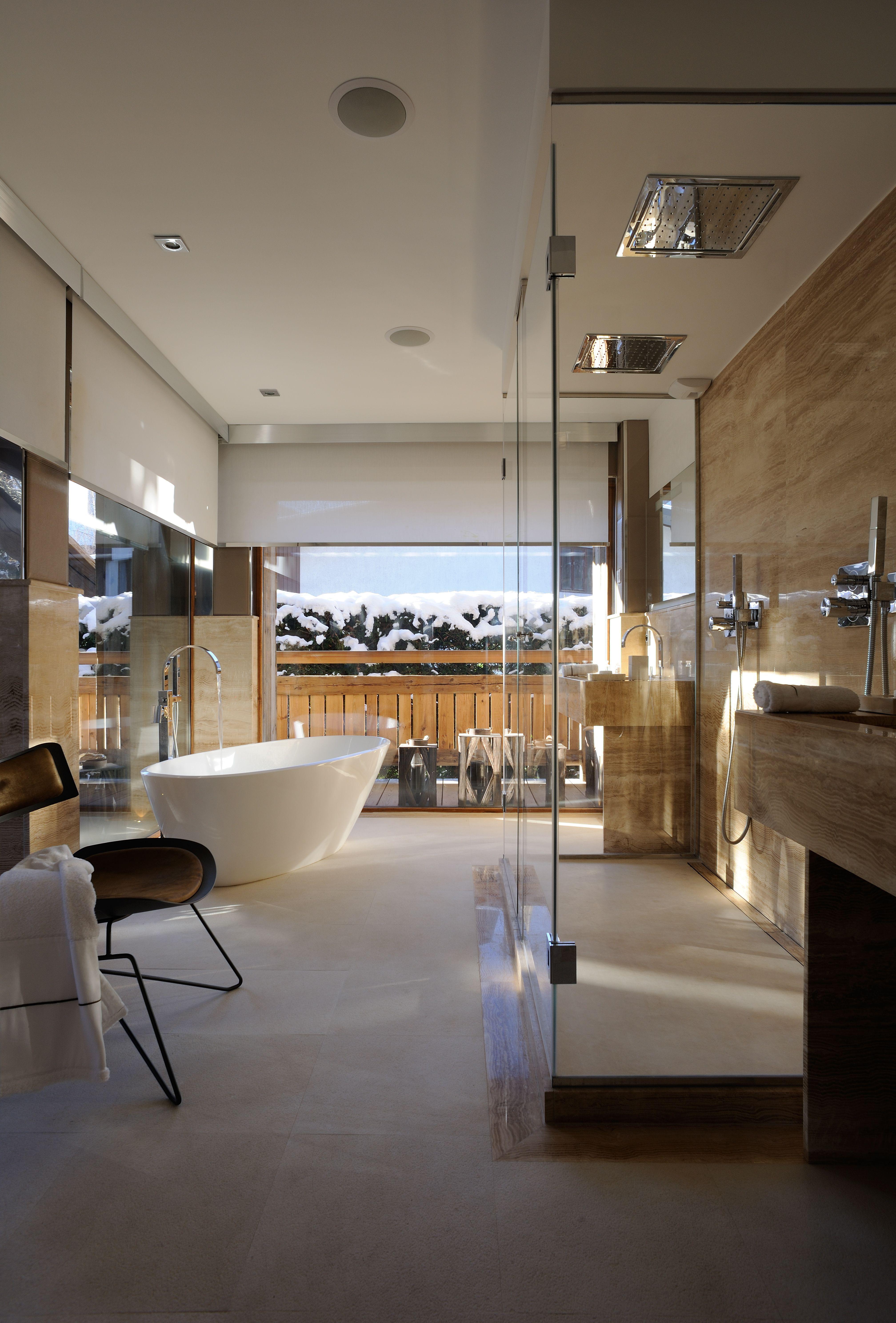Marbre fossilis salle de bain luxueuse salle de bain - Radio de salle de bain design ...