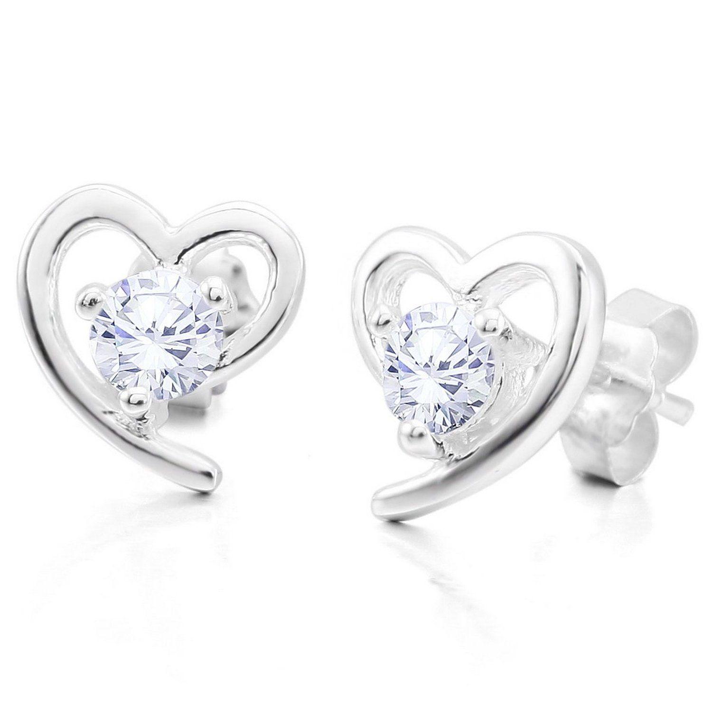 MunkiMix 925 Argent Fin 925/1000 Boucle d'Oreille Zircon CZ Oxyde de Zirconium Argent Coeur Cœur Classique Élégant Femme: Amazon.fr: Bijoux