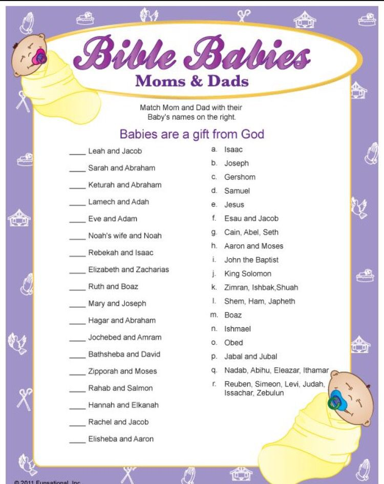 Baby shower games love these bible baby name games