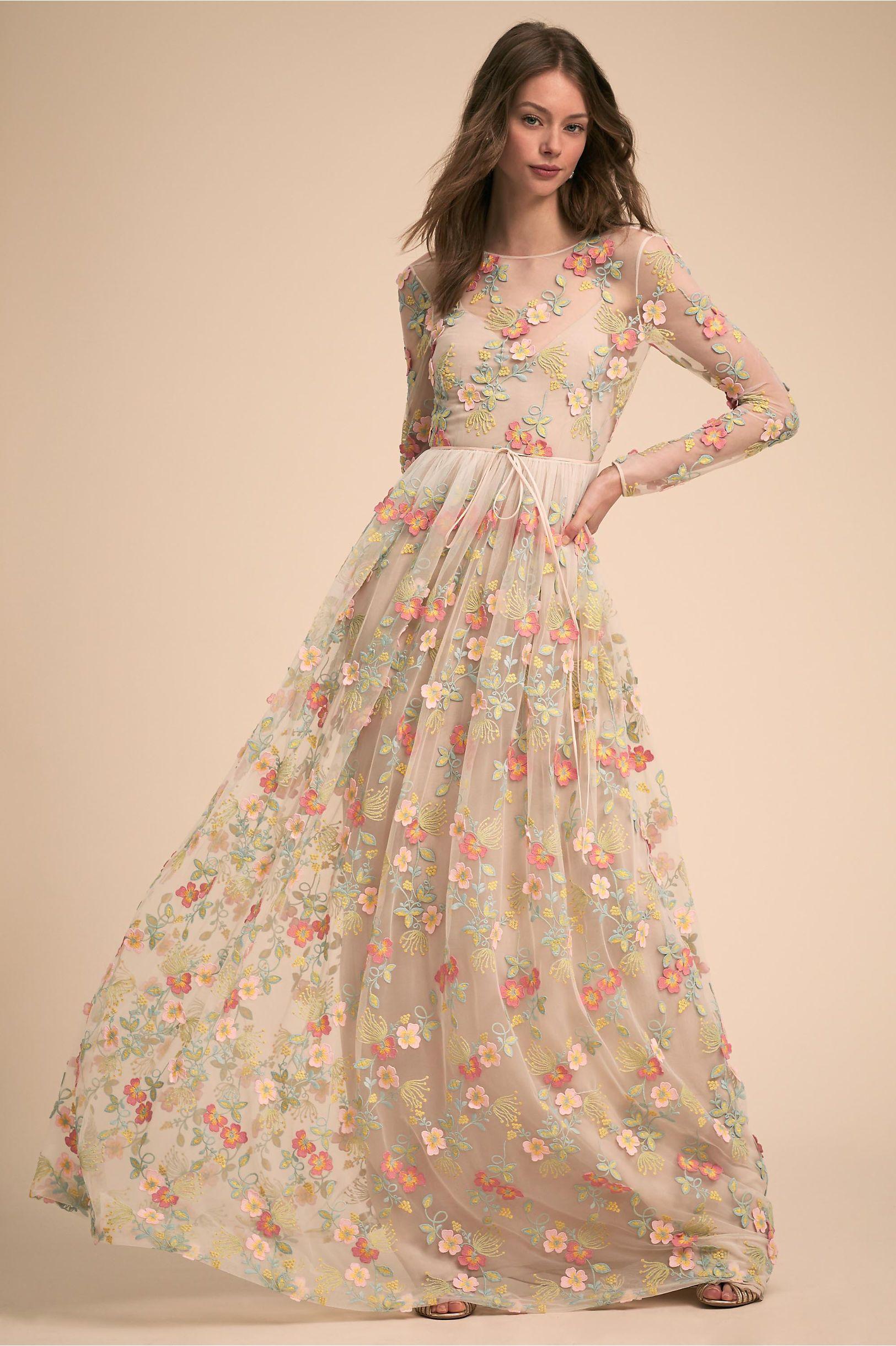 Bhldnus ml monique lhuillier declan dress in floral combo products