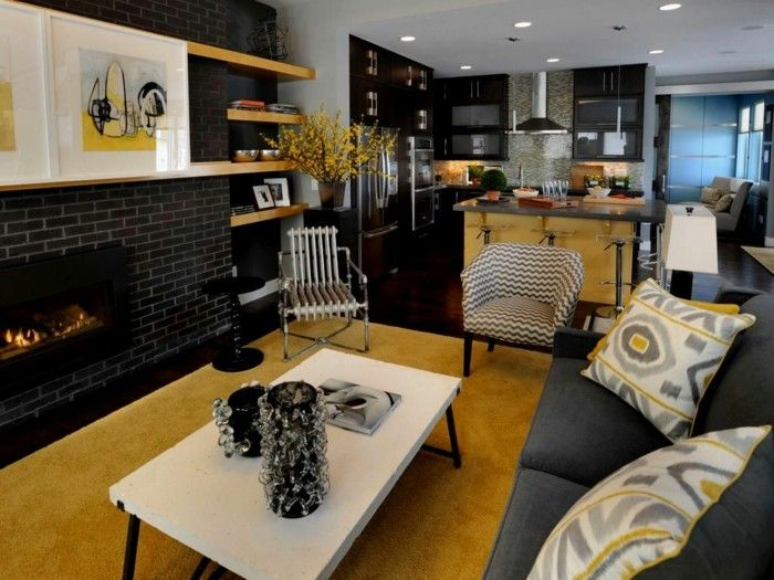 offene küche mit modernem wohnbereich in grau und gelb Küche - bilder offene küche