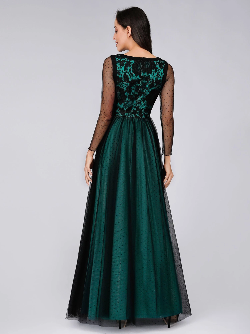 Long Sleeves With Embroidered Lace Dark Green Women Wedding Guest Dresses Women Wedding Guest Dresses Green Wedding Dresses Sheer Prom Dress [ 1333 x 1000 Pixel ]