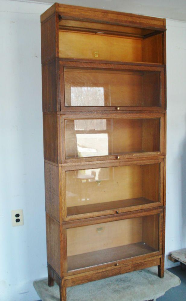 Antique Viking Mission Oak Barrister Bookcase Display Cabinet