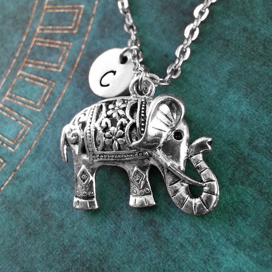 Silver Elephant Necklace, Personalized Elephant Pendant ...