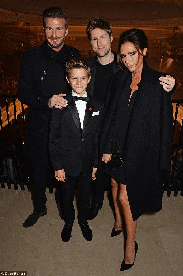 ca4ca6461216 Romeo Beckham s Festive Burberry Ad Premiere – Vogue David, Romeo, and  Victoria Beckham and Christopher Bailey