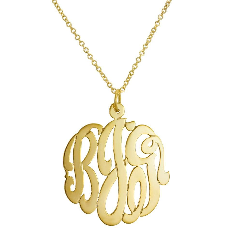 Initial Reaction Monogram Monogram Necklace Gold Monogram Jewelry Personalized Monogram Necklace