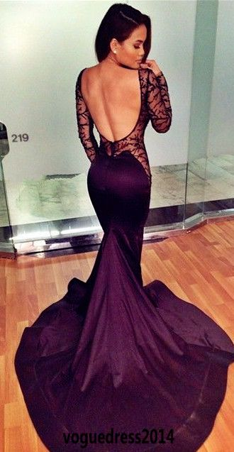 Backless Prom Dress,Mermaid Prom Dress,Long Sleeve Prom Dress ...