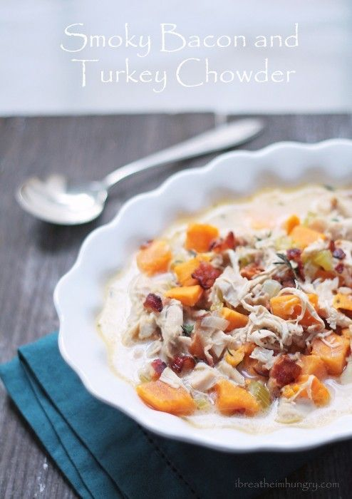 Smoky bacon turkey chowder! Put those turkey leftovers to good use in this delicious low carb and gluten free turkey chowder recipe flavored with bacon and cheddar cheese! Gluten free, Keto, Low carb, Primal.