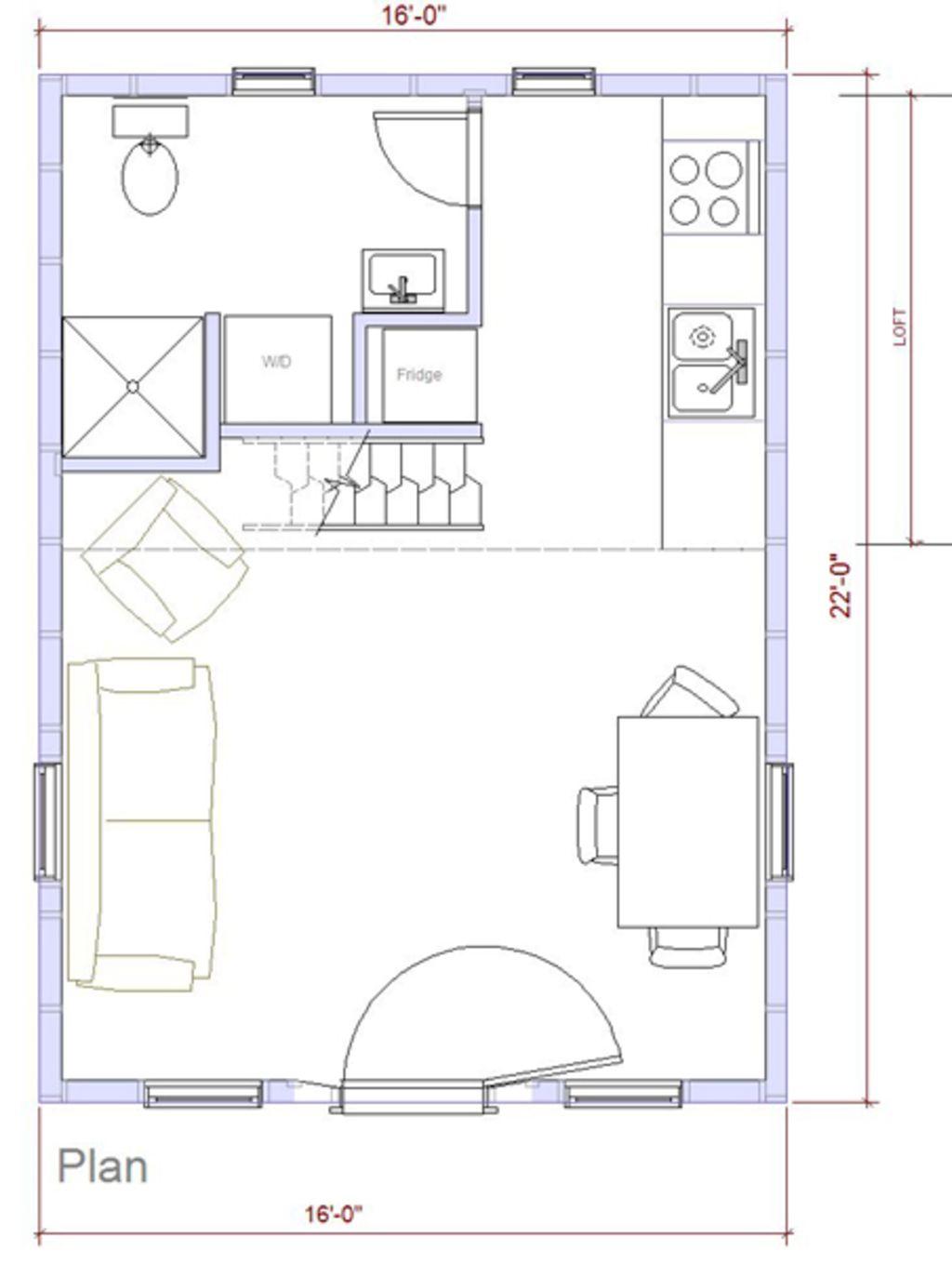 Modern Style House Plan 1 Beds 1 Baths 320 Sq Ft Plan 890 2 House Plans House Plan With Loft Modern Style House Plans