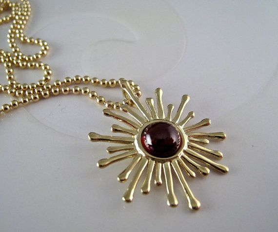 Solid 14k Gold Sun Sunburst with Garnet Necklace Luxury Fine