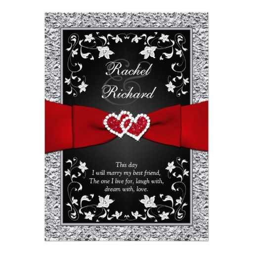 black silver red hearts floral wedding invitation