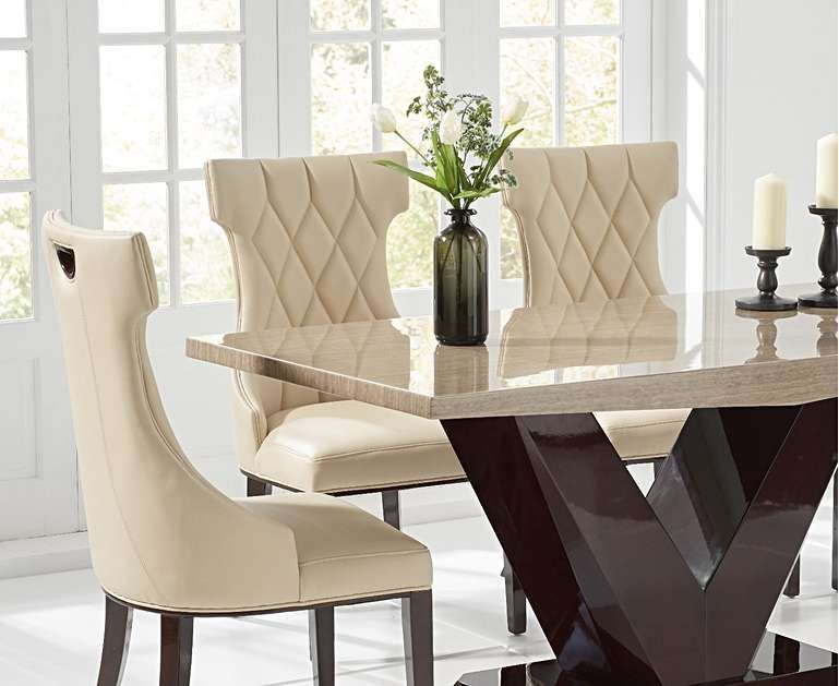 Verbier 160cm Brown V Pedestal Marble Dining Table With Freya Chairs Dining Table Marble Faux Leather Dining Chairs Modern Dining Table