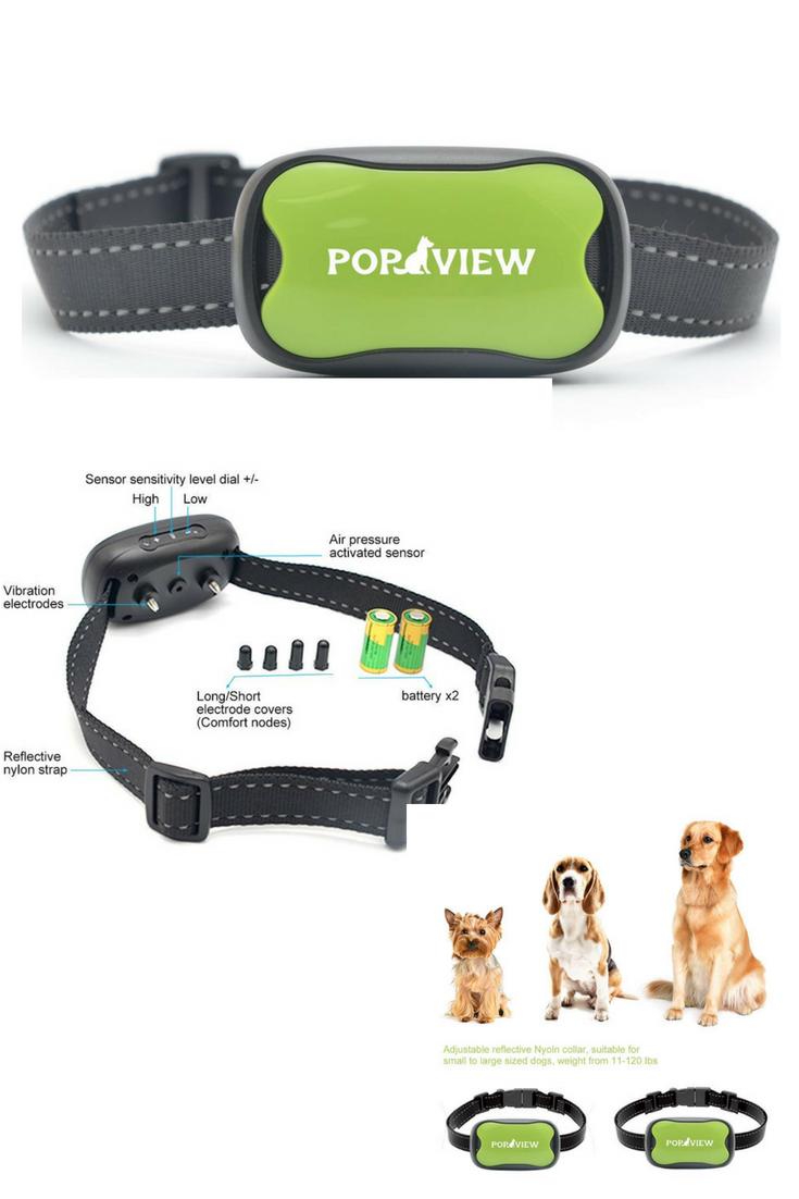Pop View Dog Anti Bark Collar Small Medium Large Dogs 7 Adjustable Levels Sound Vibration No Shock Harmles Cheap Dog Collars Dog Barking Anti Bark Collar