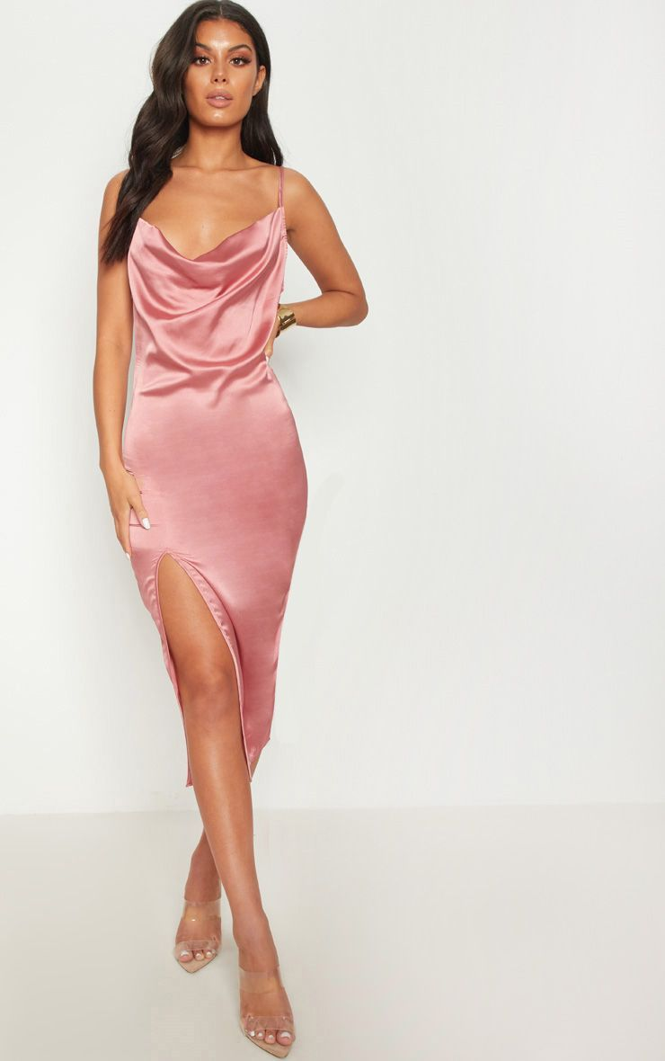 fcfa4c0578 Rose Strappy Satin Cowl Midi Dress. Head online and shop this season s  range of dresses at PrettyLittleThing. Express delivery   student discount  available.
