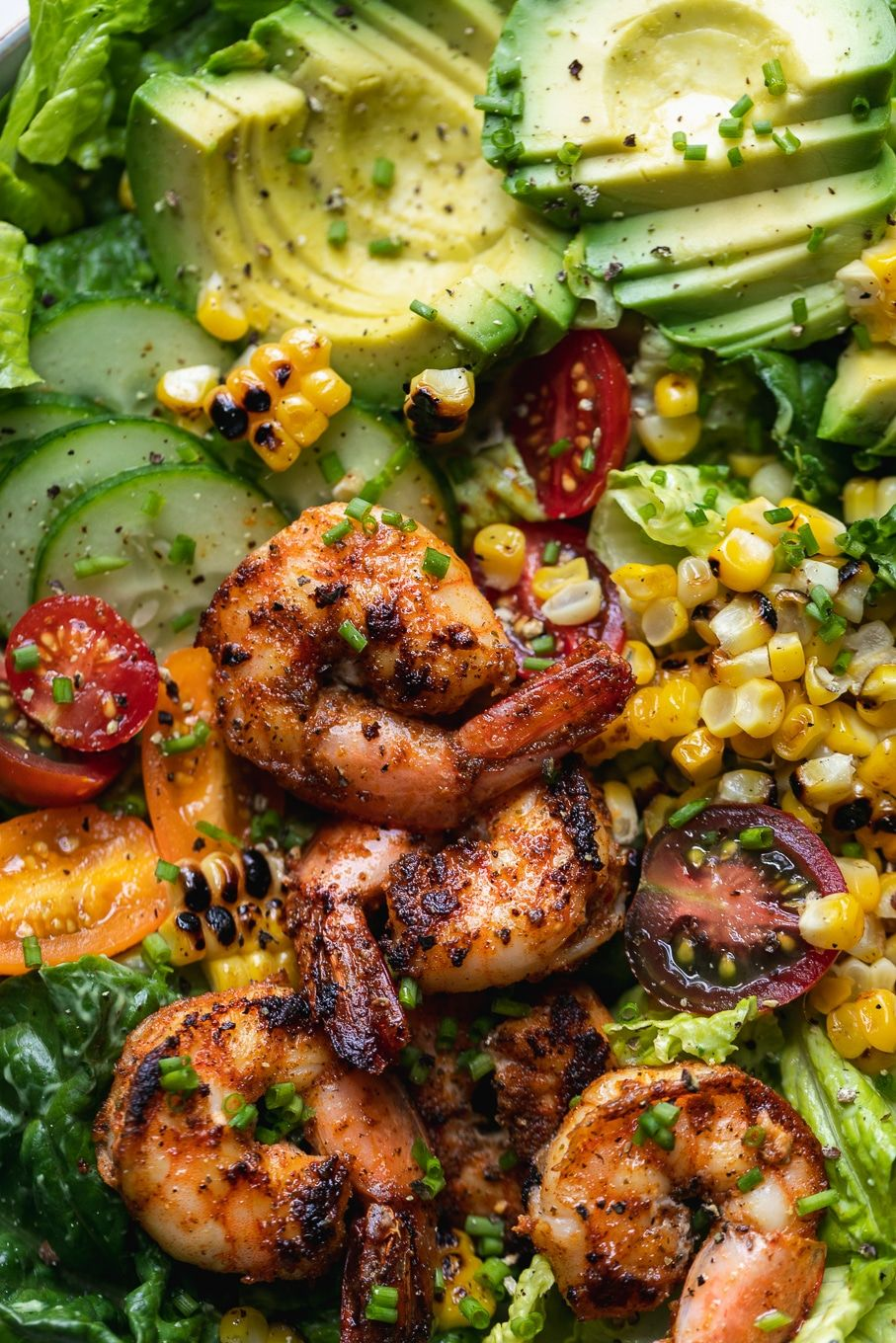 Blackened Shrimp and Grilled Corn Salad with Avocado Ranch