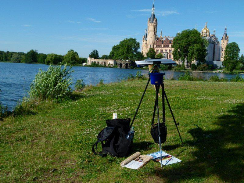 Aquarellkurs – Schweriner Schloss | Blick auf das Motiv das Schweriner Schloss (c) Frank Koebsch