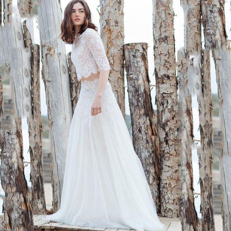 Find More Wedding Dresses Information About Boho Garden 2 Pieces Simple Embroidery Bohemian Bridal