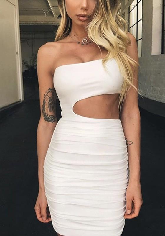 9e44a8ca0f9 White Cut Out Irregular Backless One Shoulder Ruched Bodycon Club Party Mini  Dress