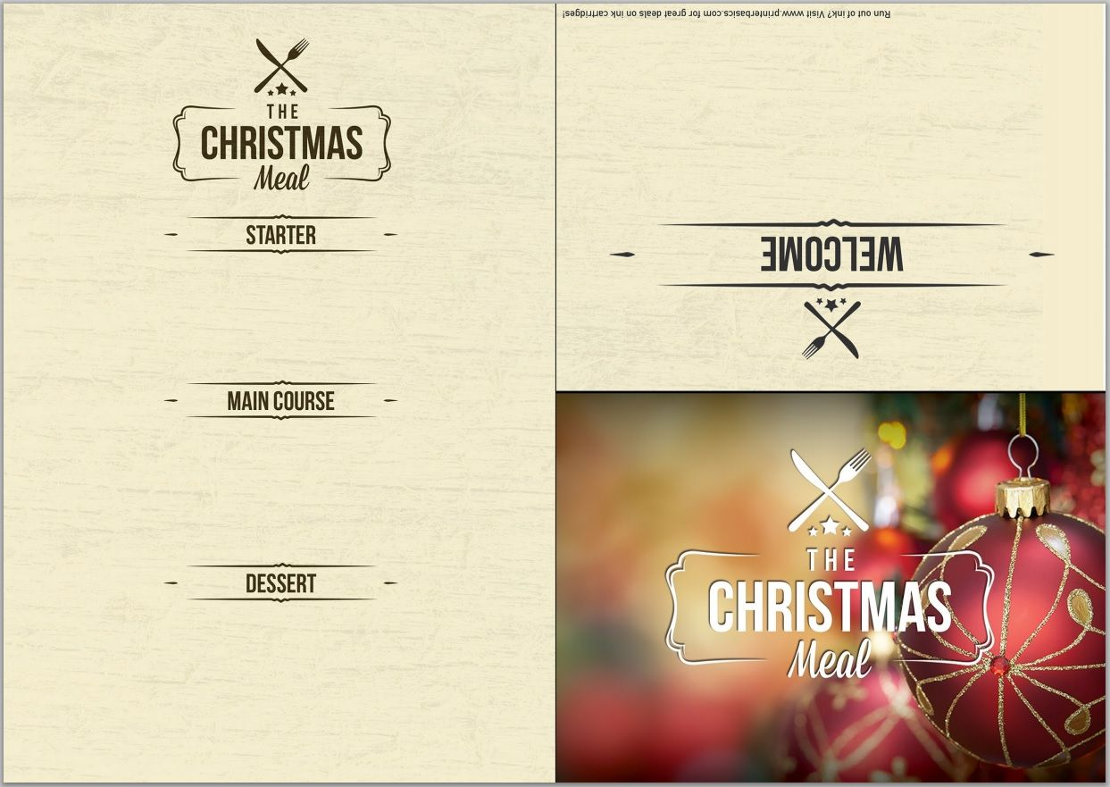 FREE Classy printable menu template for your Christmas dinner ...