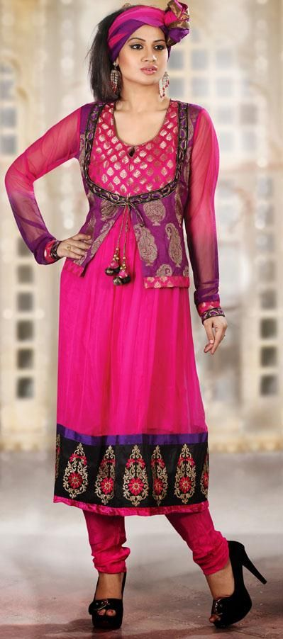 $88.6 Pink Embroidered Chiffon Anarkali Salwar Kameez 25028