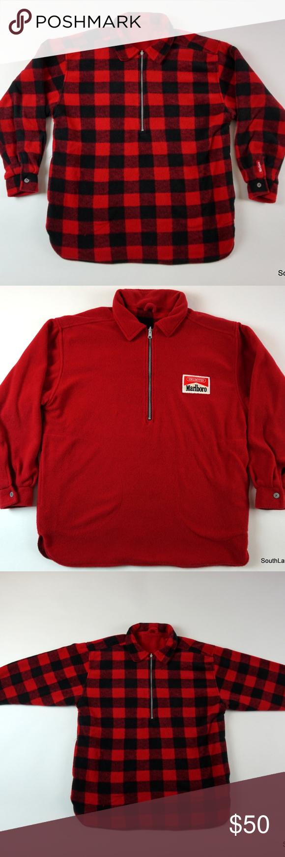 Vintage Marlboro Reversible Fleece Jacket Plaid Xl Vintage Marlboro Reversible Fleece Jacket Plaid Red Flannel Lined Men Fleece Jacket Jackets Marlboro Jacket
