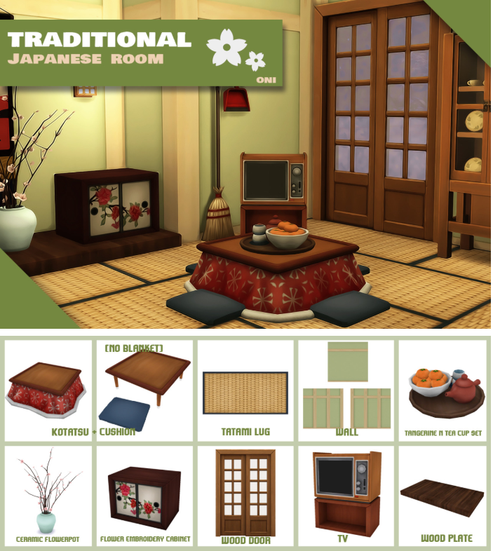 Traditional Japanese Room Sims house Sims 4 house design Sims