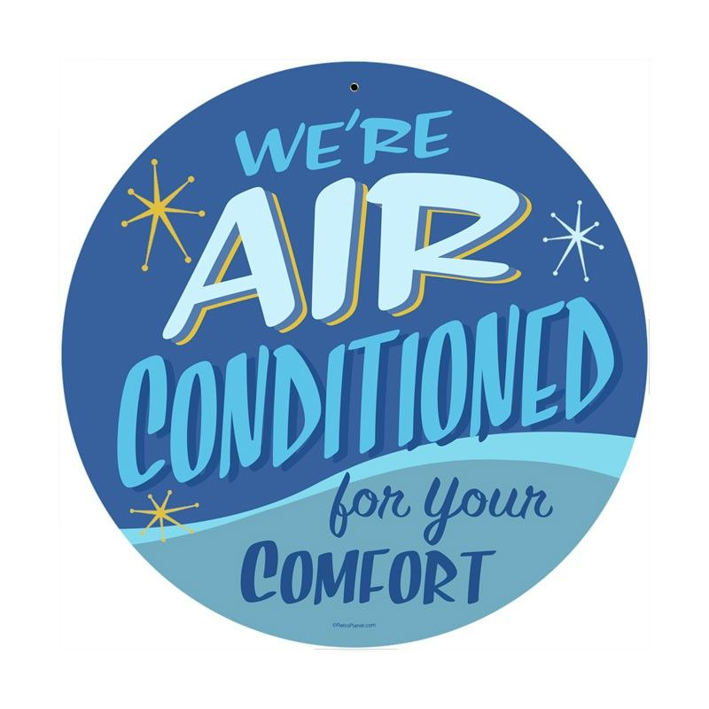 Retro Air Conditioned Metal Sign 14 X 14 Inches Wall