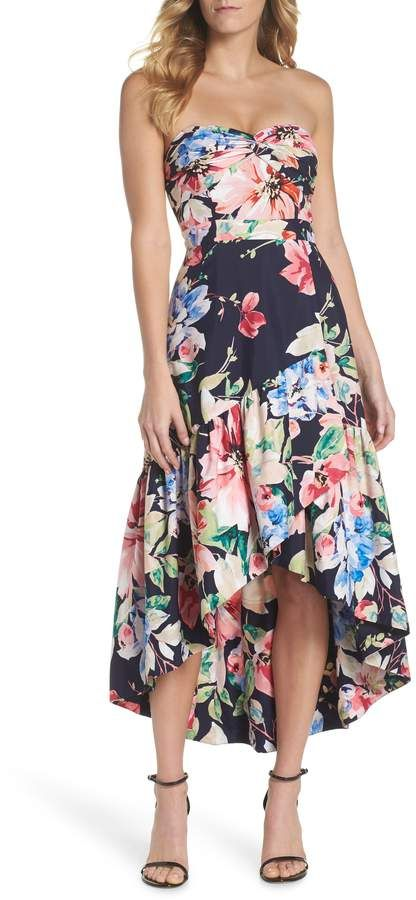 43ab99e060f1 Eliza J Strapless High/Low Dress | Products | Strapless floral dress ...