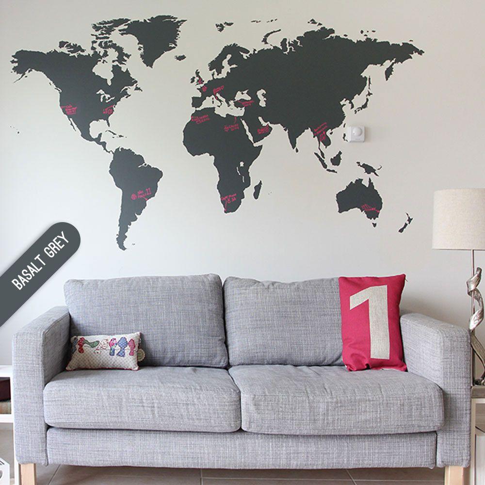 office wall stickers. Dark Grey Chalkboard World Map Wall Sticker For Your Office Stickers