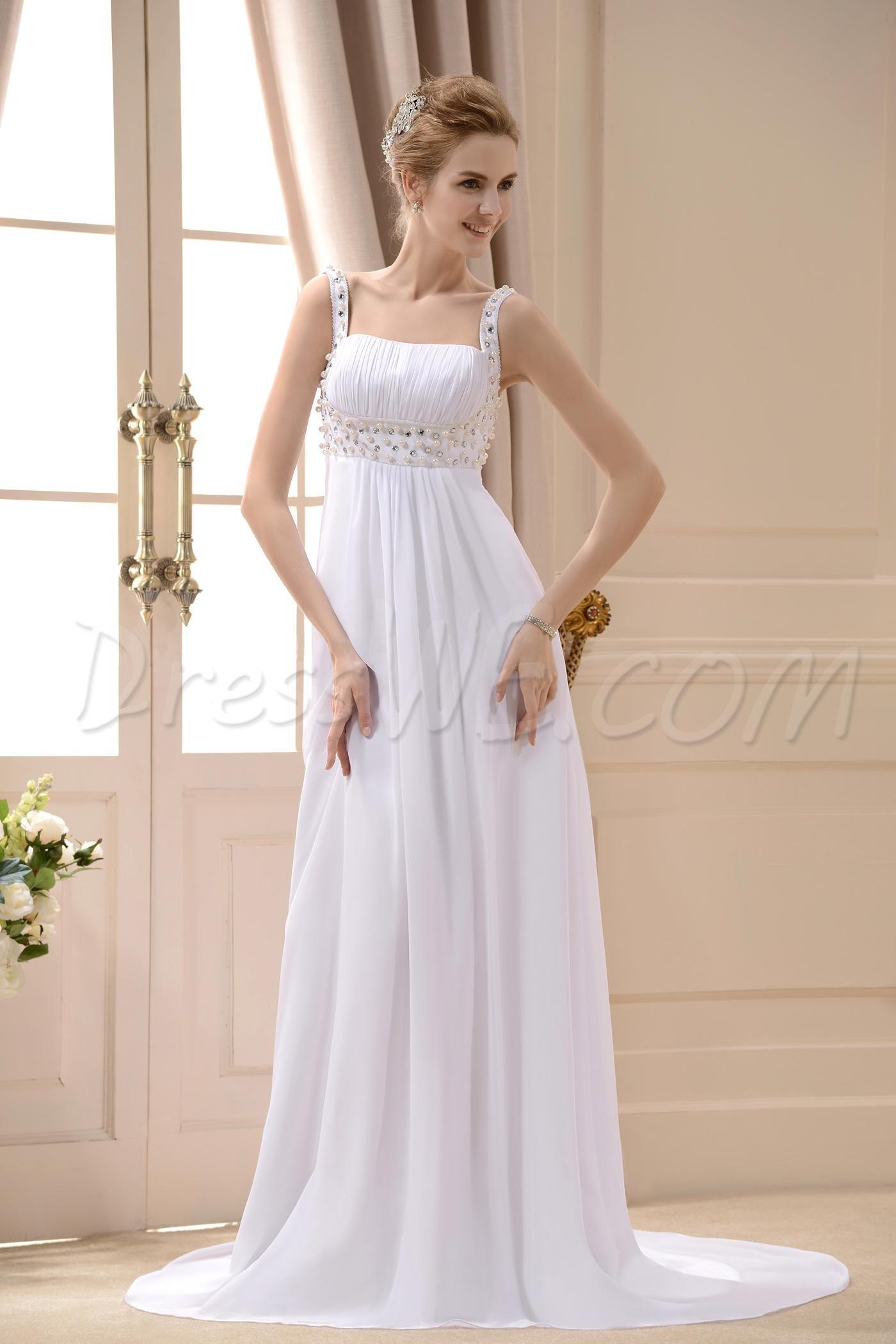 $145.79 Dresswe.comサプライ品エレガントな帝国チャペルの列車のウェディングドレス スパゲティストラップ
