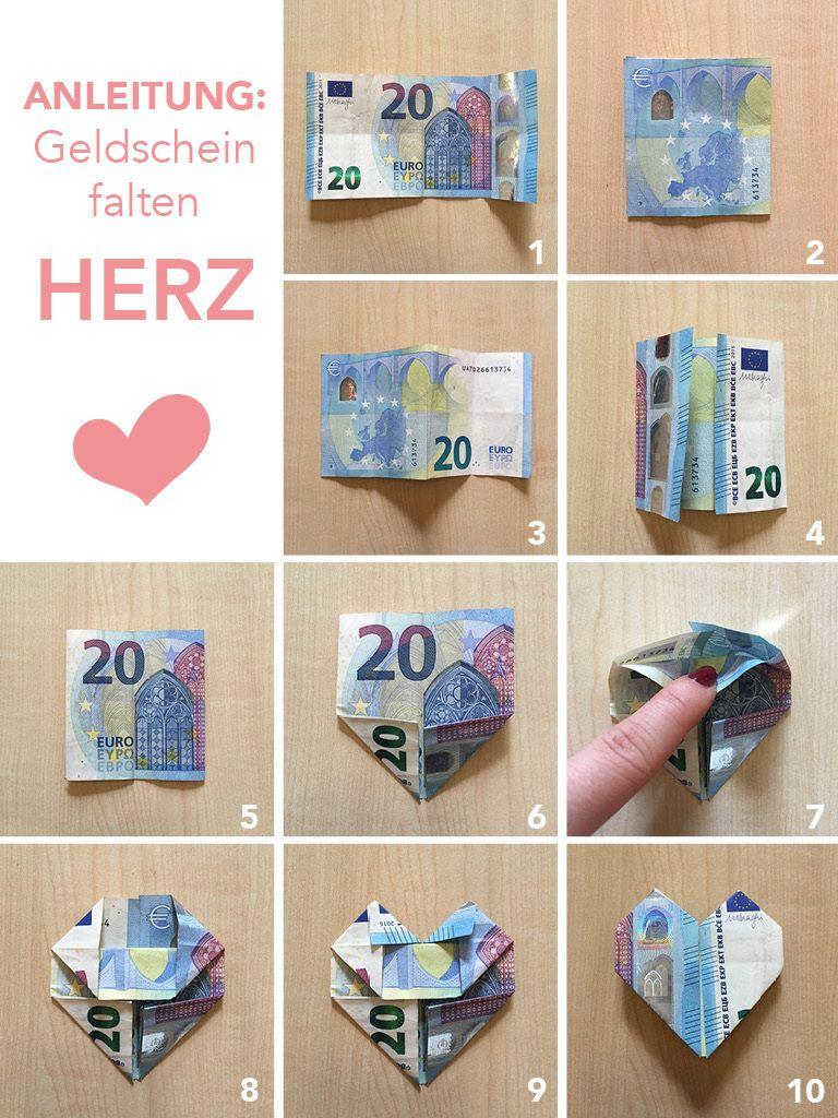 Tutorial / Instrucciones: Doblar corazones de dinero – Regalo de bodas DIY en un marco de imagen