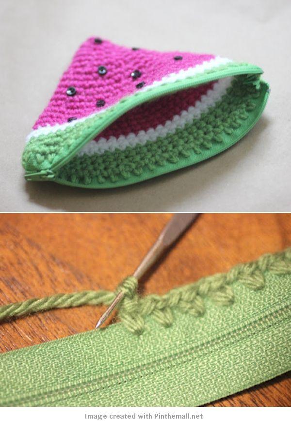 Crochet Watermelon Coin Purse Sandía, Monederos y Tejido