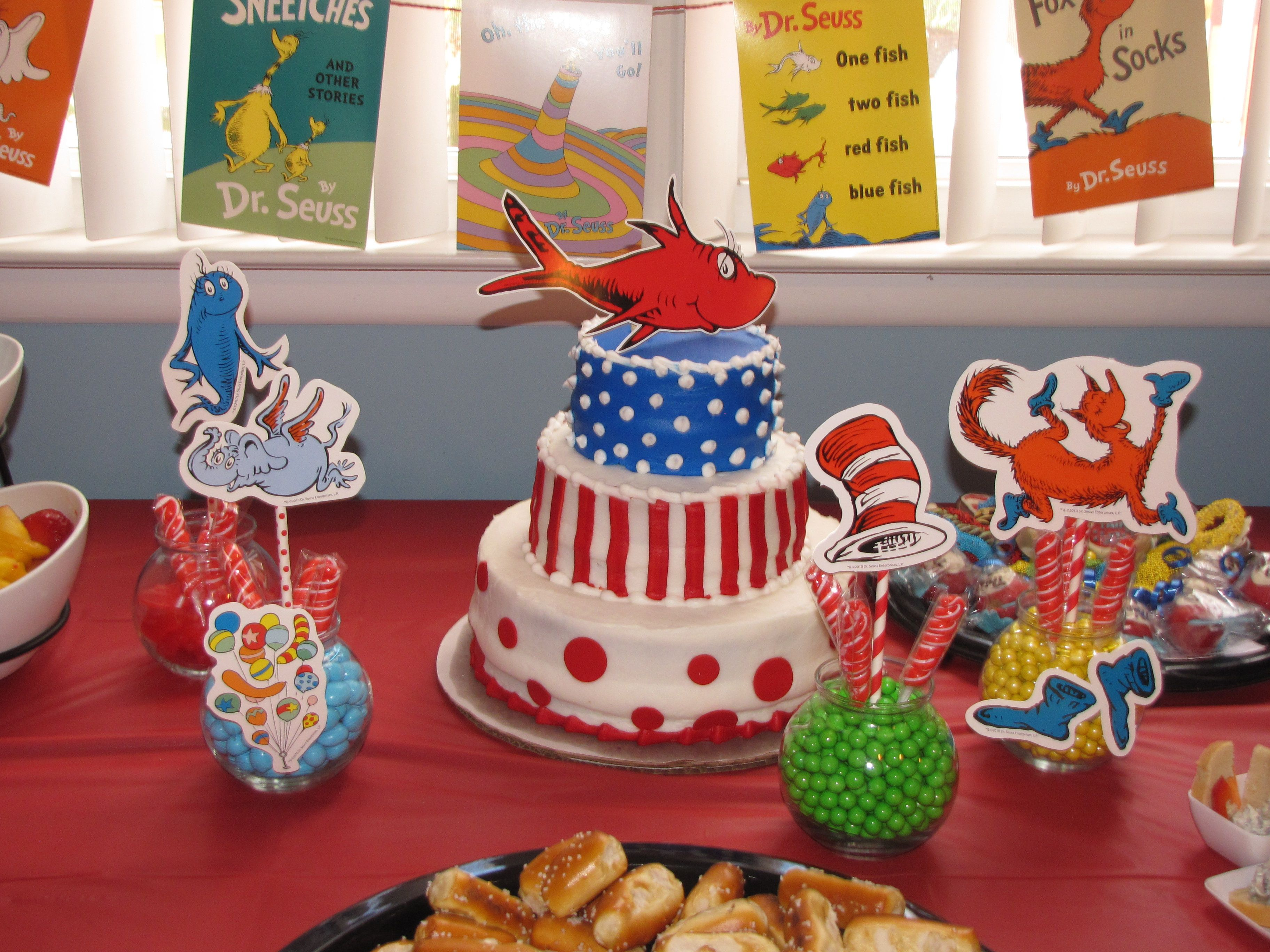 Dr. Seuss cake from local grocery store bakery. Three tiers with ...