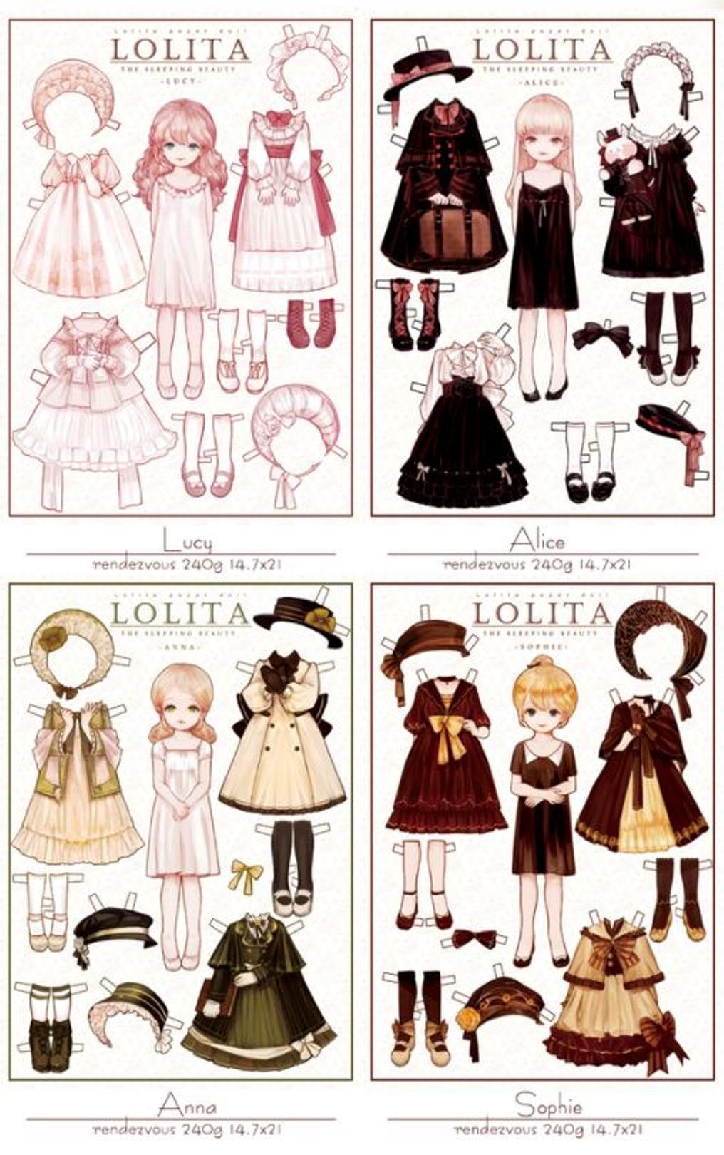 Lucy Alice Anna Sophie Little Paper Dolls From LOLITA Artist Syalgu