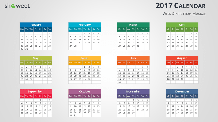 Colorful 2017 Calendar For Powerpoint And Keynote Calendar Template Printable Calendar Template Monthly Calendar Template