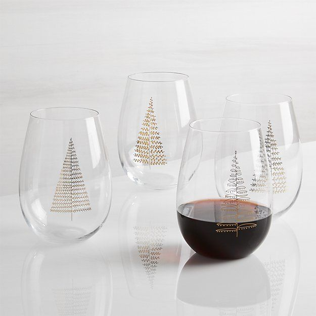 65343b997f3 Crate & Barrel Gilded Trees Stemless Wine, Set of 4 | BELIEVE ...