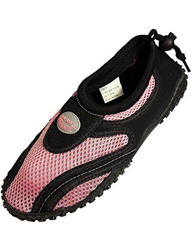 Womens Black & Pink Aqua Socks Water Shoes beach
