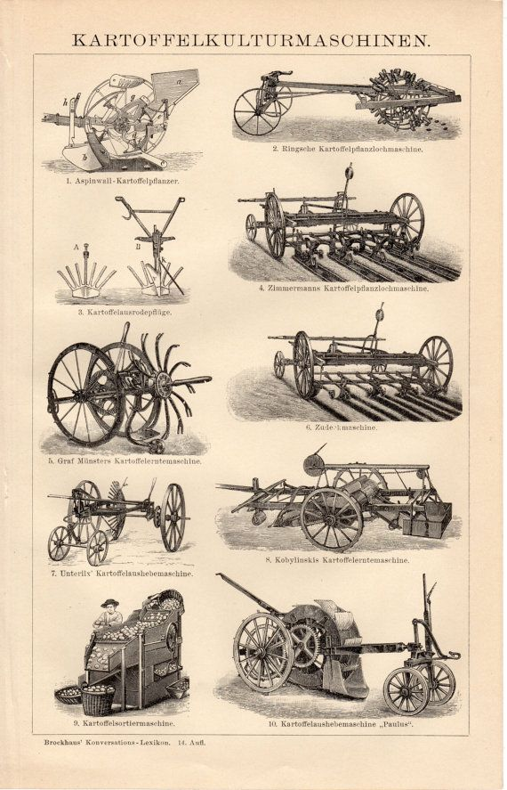 1908 Antique Agricultural Machines Print, Kartoffelkulturmaschinen ...