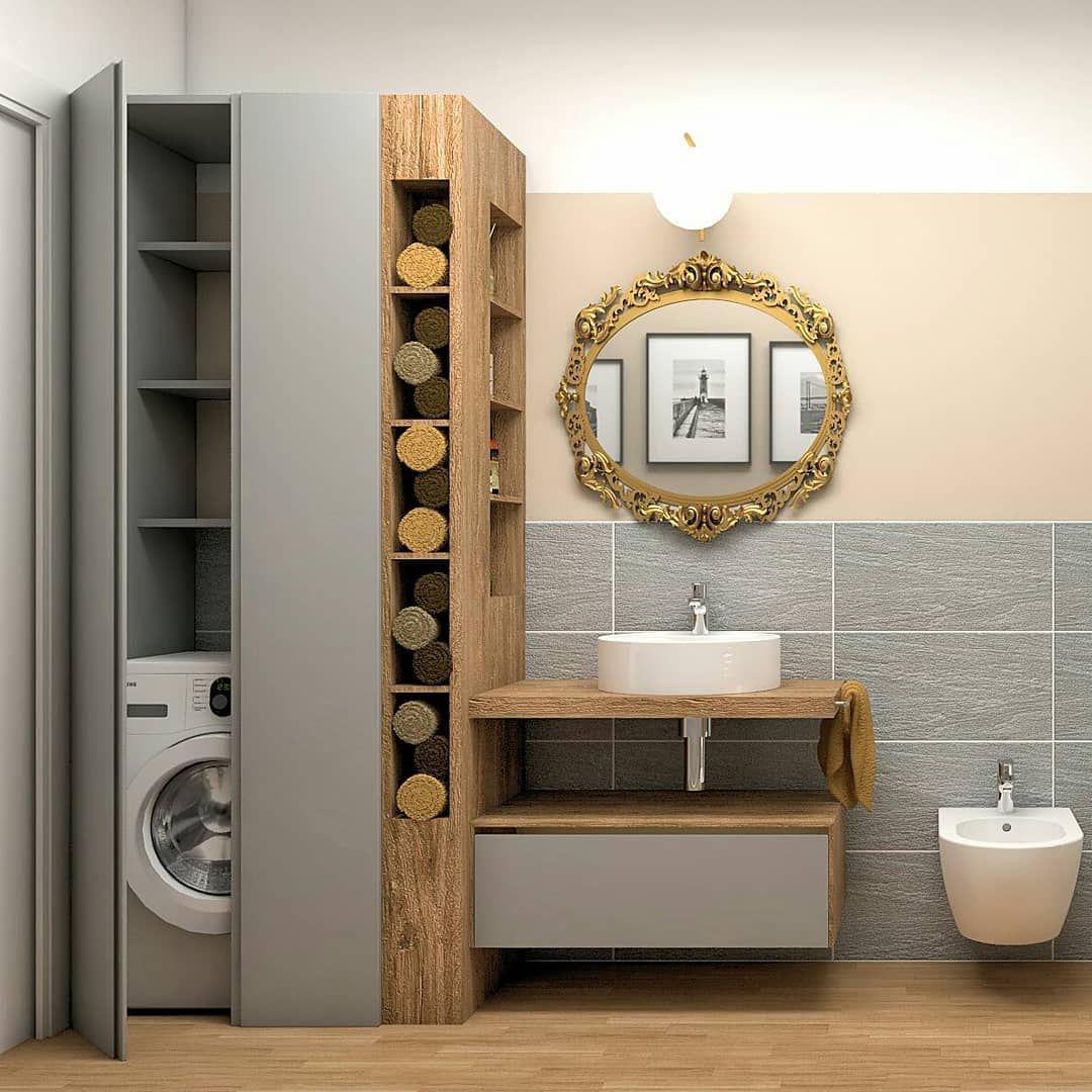 """Photo of Antonella Favalli su Instagram: """"Quando il bagno è stretto e lungo e deve anche contenere la lavatrice. Un mobile, perché realizzare su misura, può svolgere più funzioni:… """""""