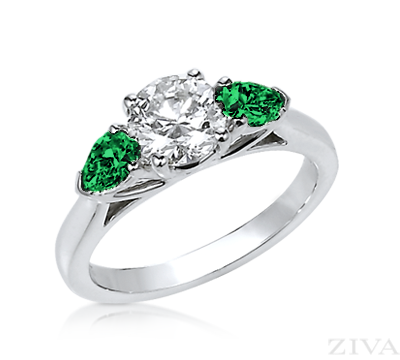 3 Stone Diamond Engagement Ring With Emerald Side Stones Round Diamond Engagement Rings Emerald Engagement Ring Side Stone Engagement Ring