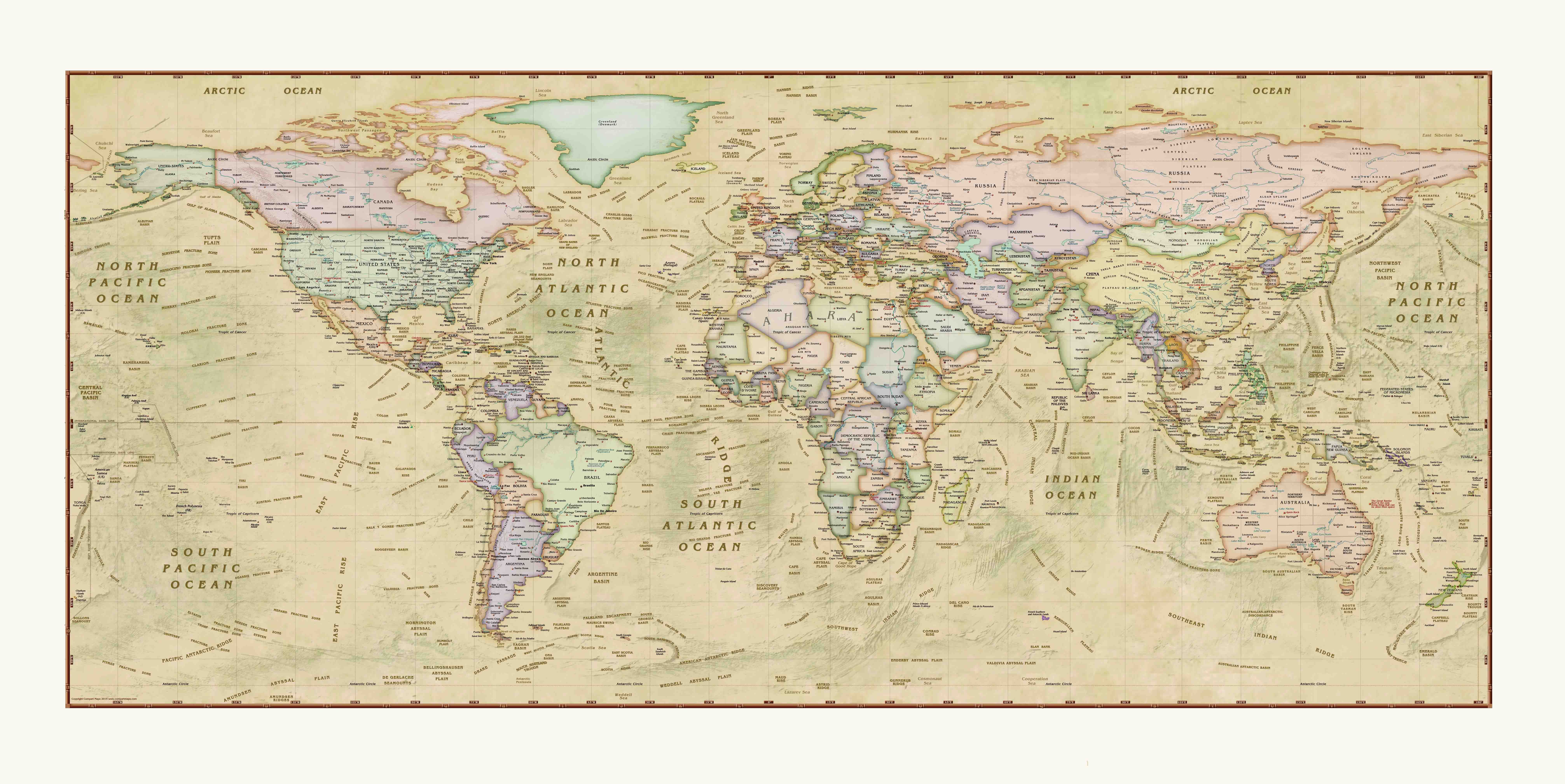 World Map Poster Map of The World Wall Chart
