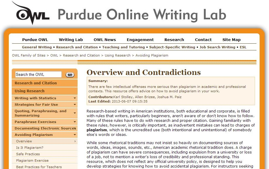 Purdue University Avoiding Plagiarism Click Image For Full Article Academic Writing Writing Lab Citations