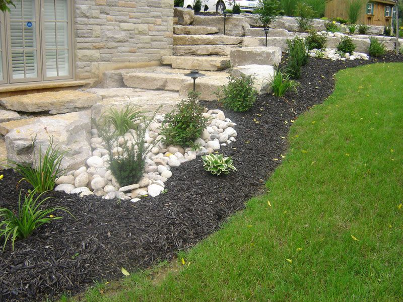landscaping with armour stone | Stone landscaping, Yard ...