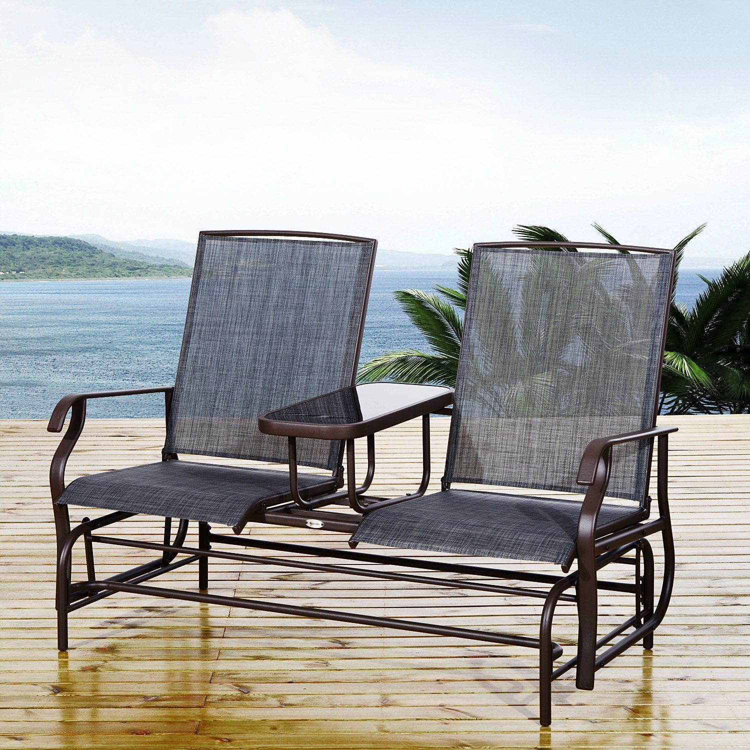 Outsunny Metal Double Swing Chair Glider Rocking Chair