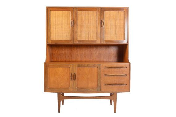6601b81e2e77 Tall Mid Century Modern G Plan Fresco Teak + Grass Cloth Hutch Credenza