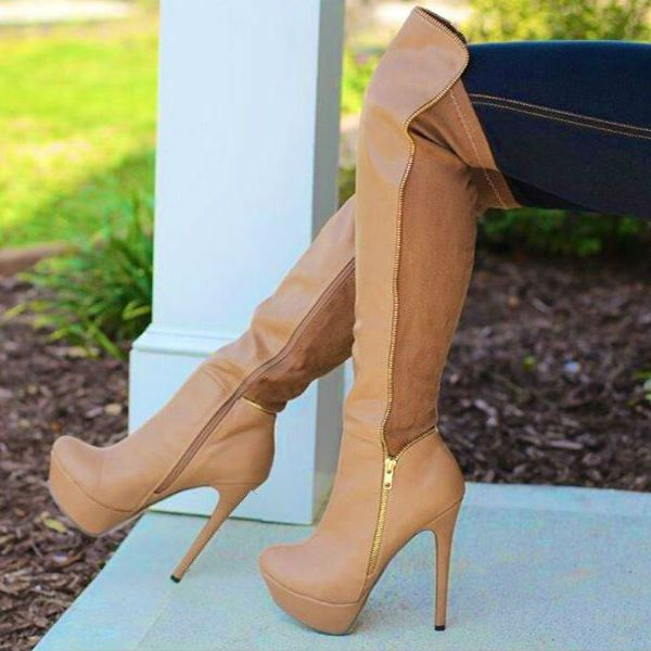 Over The Knee Zip Stiletto Boots