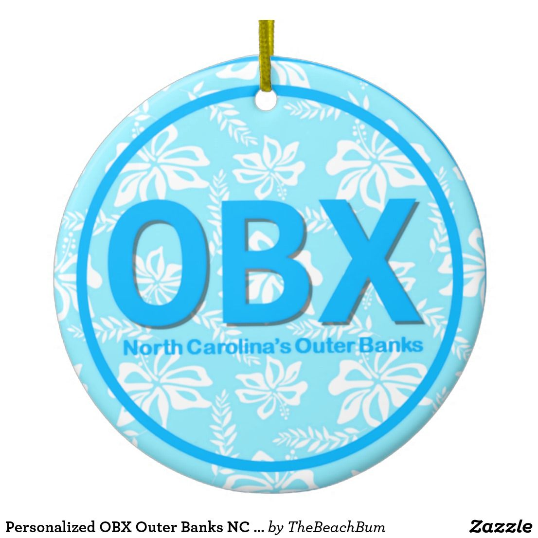 Personalized OBX Outer Banks NC Blue Christmas Ceramic