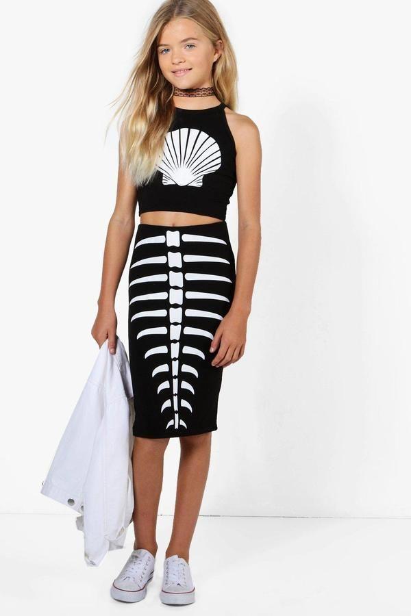6ae978a0c2169 boohoo Girls Mermaid Skeleton Top & Skirt Set | Girls Fashion - Kids